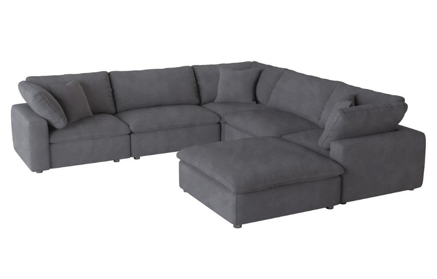 Homelegance 9546GY-6pc 6 pc Guthrie gray fabric down topped seating modular sectional sofa set