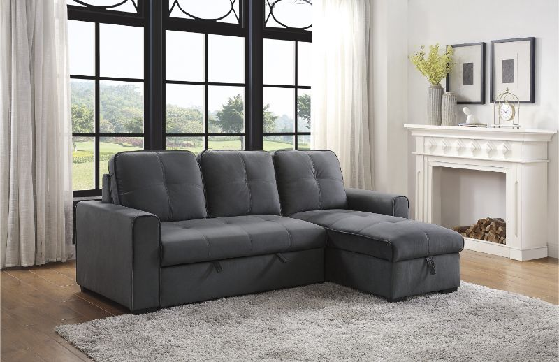 9569GY-SC Winston porter medina gray fabric storage chaise sectional sofa