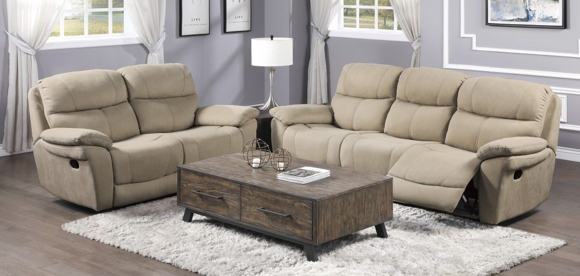 Homelegance 9580TN-2PWH 2 pc Longvale tan polished microfiber sofa and love seat set power recliner ends