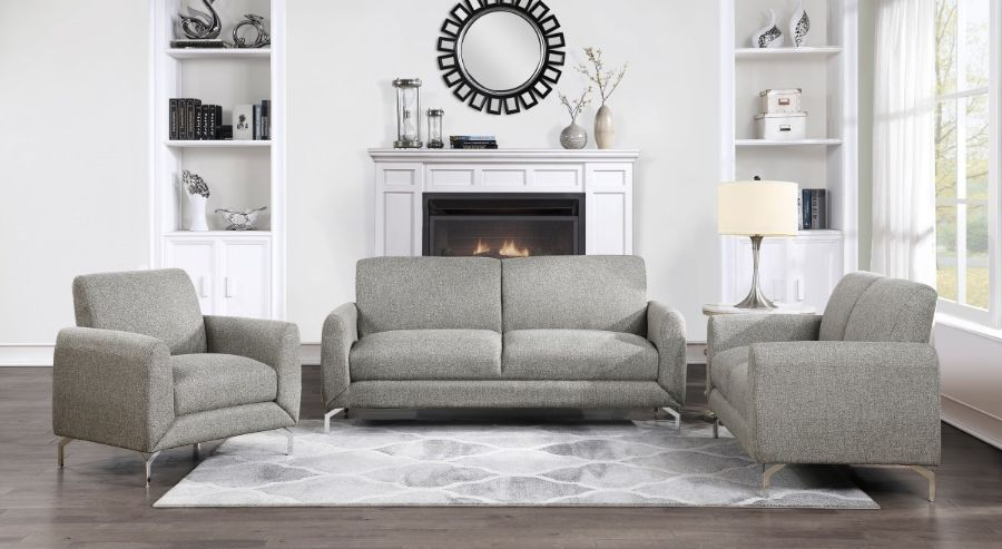Homelegance 9594BR-2PC 2 pc Venture light brown fabric sofa and love seat set with chrome modern legs