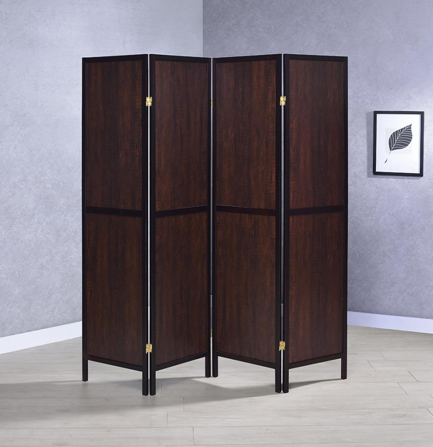 961414 4 panel espresso finish wood frame room divider shoji screen