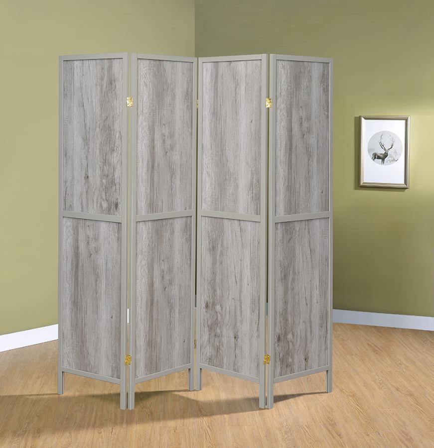 961415 Williston forge carrasquillo 4 panel driftwood gray finish wood frame room divider shoji screen