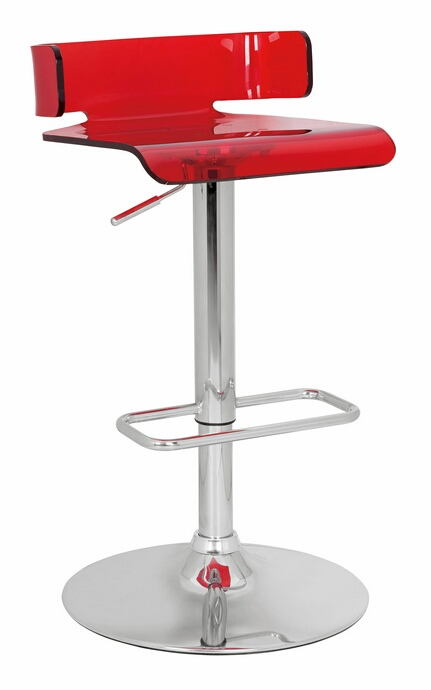Rania collection red acrylic seat and chrome base adjustable height bar stool