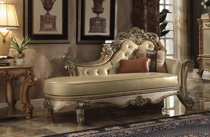 Acme 96485 Vendome ii gold patina finish wood gold faux leather chaise lounger