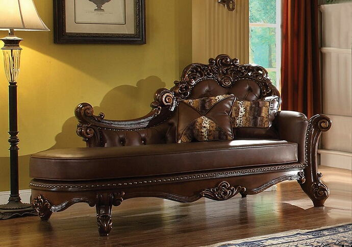 Vendome collection cherry finish wood frame and cherry faux leather upholstered chaise lounger