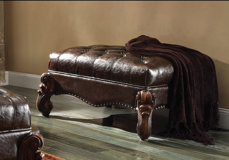 Acme 96538 Versailles cherry oak finish wood two tone dark brown faux leather bench
