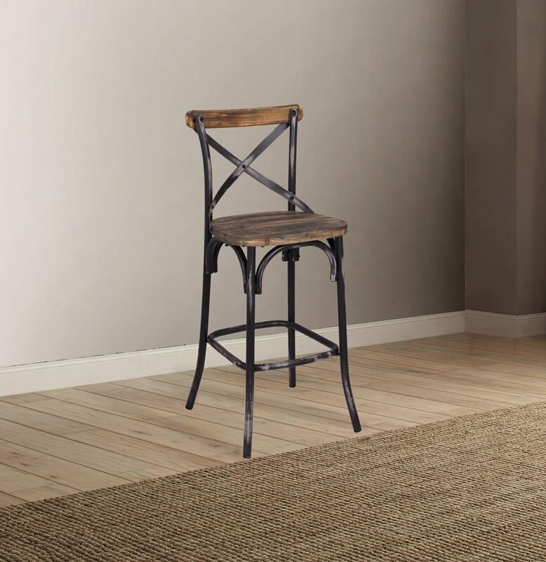 Acme 96640 Zaire antique oak finish wood antique black metal bar chair