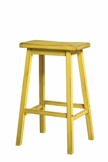 Acme 96654 Set of 2 gaucho antique yellow finish wood farmhouse style bar stools