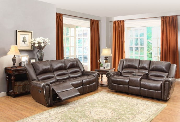 2 pc center hill collection dark brown bonded leather match upholstered sofa and love seat with console and nail head trim