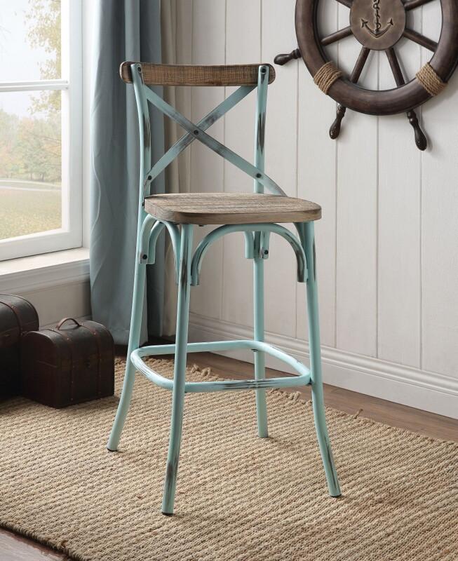 Acme 96806 Zaire antique oak finish wood antique sky metal bar chair
