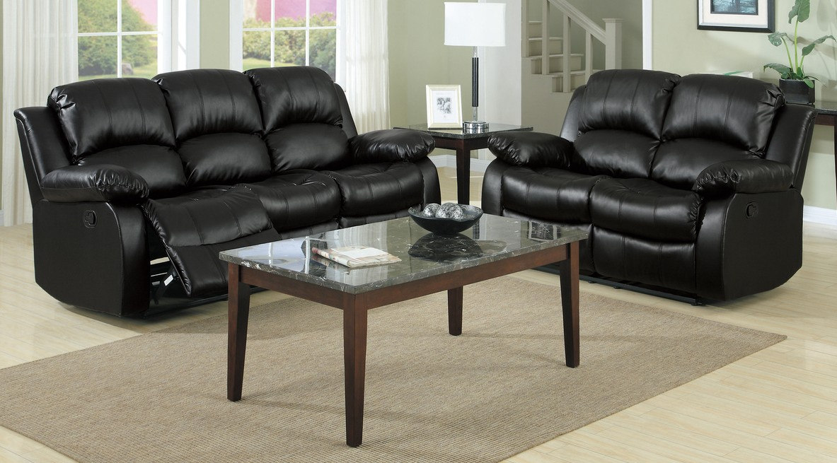 Homelegance 9700BLK-2PC 2 pc cranley black bonded leather match double reclining sofa and love seat set