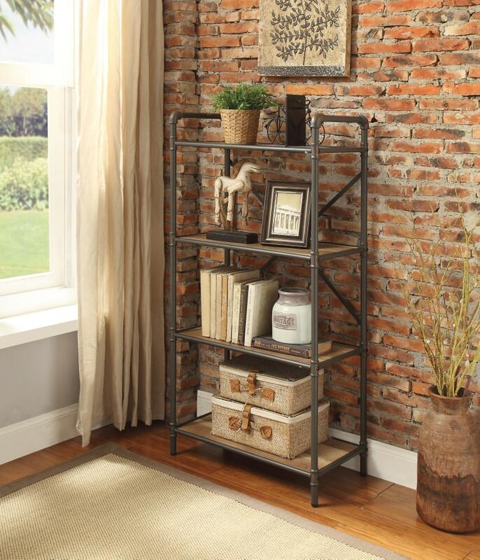 Acme 97163 Itzel antique oak finish wood sandy black metal book case shelf unit