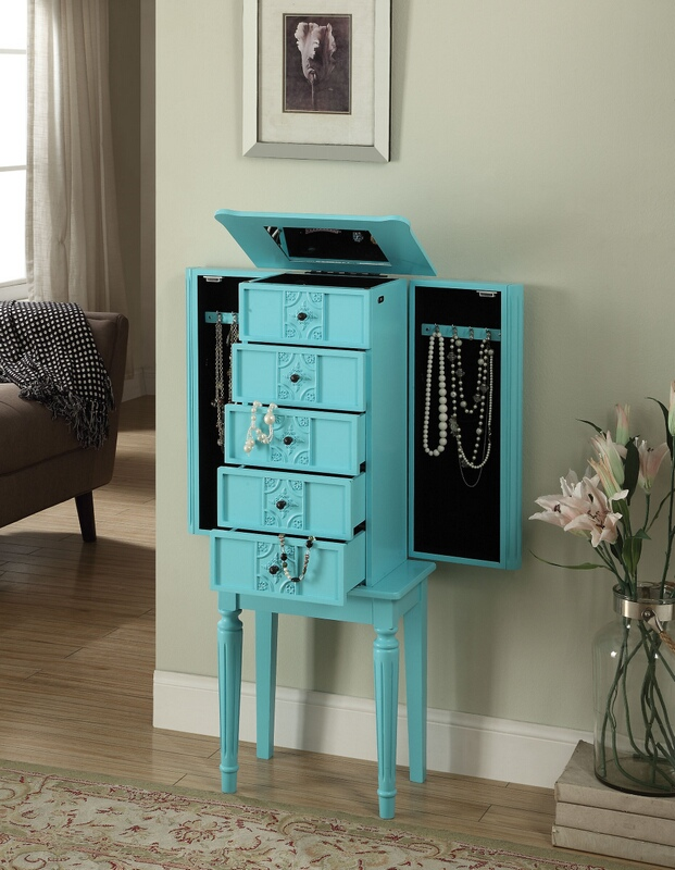 Acme 97170 Tammy light blue finish wood jewelry armoire cabinet