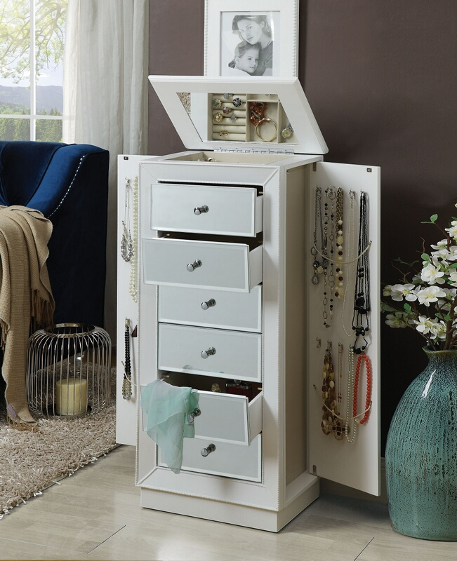 Acme 97171 Talor white finish wood jewelry armoire cabinet