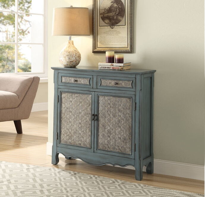 Acme 97245 Winchell antique blue finish wood console entry table