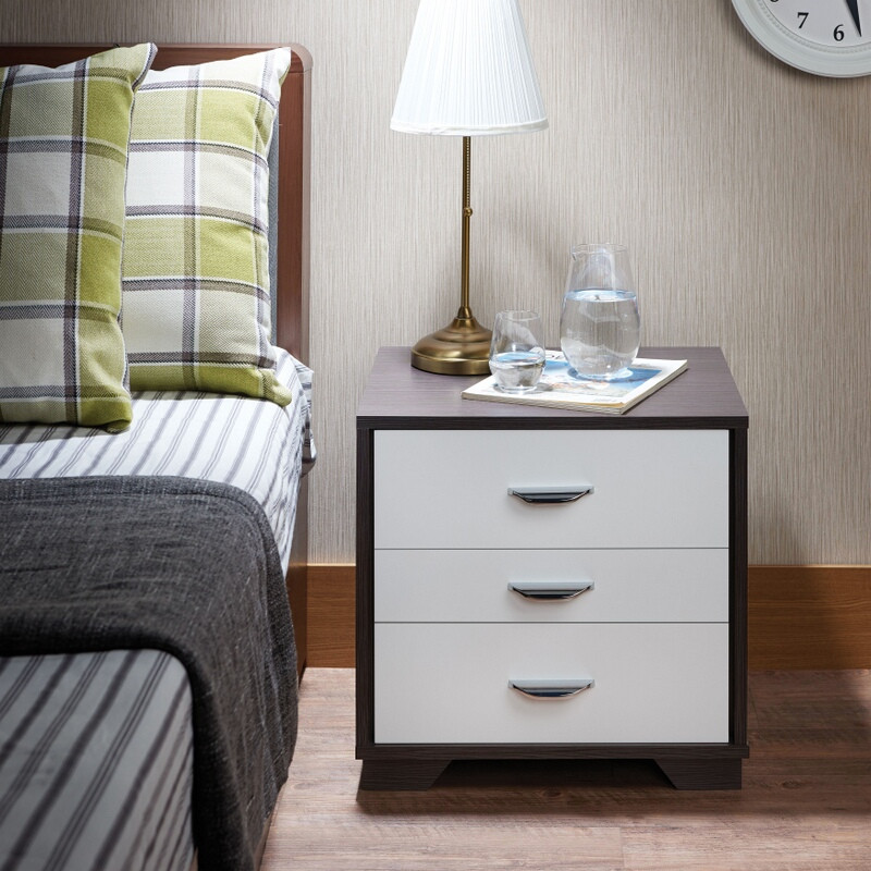 Acme 97342 Eloy white / black finish wood 3 drawer nightstand bed side end table
