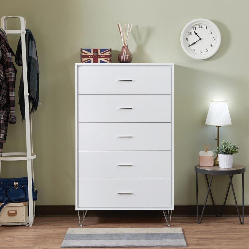 Acme 97364 Deoss white finish wood 5 drawer bedroom chest