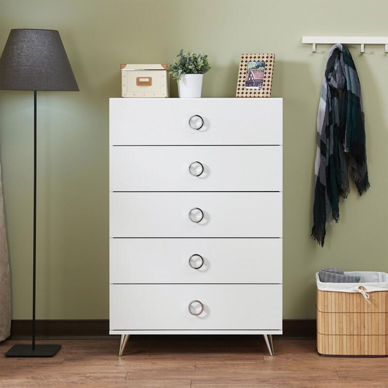 Acme 97370 Elms white finish wood 5 drawer bedroom chest