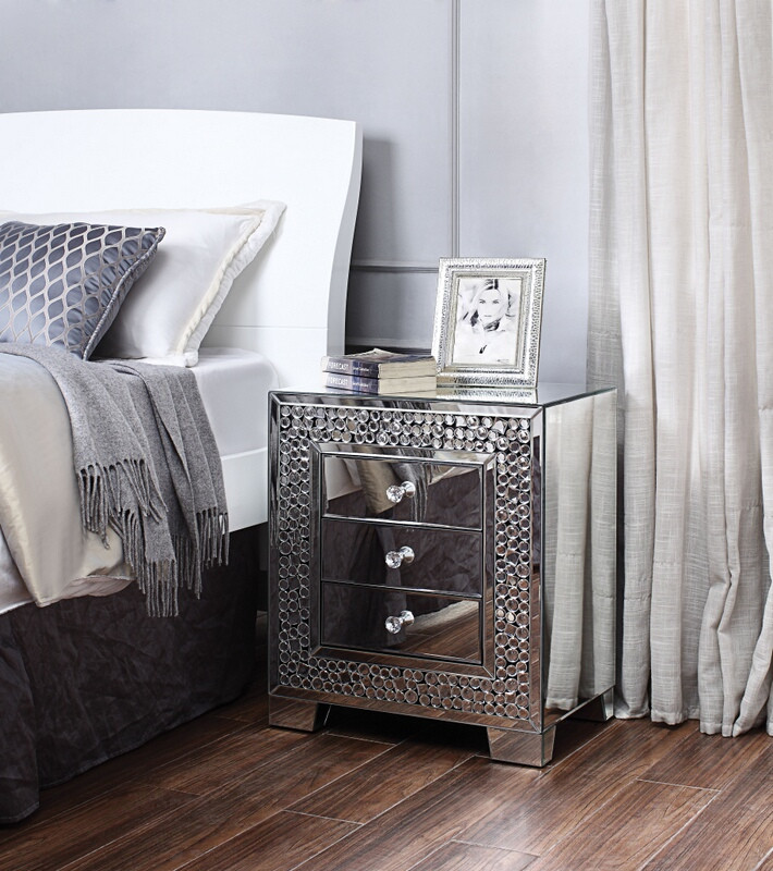 Acme 97584 Glam Kachina mirrored nightstand bed side end table