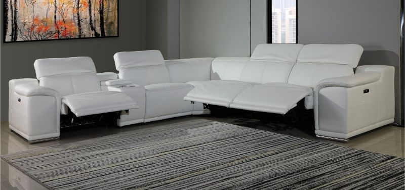GU-DI9762WH-6PC 6 pc Orren ellis florence white italian leather power reclining sectional sofa adjustable headrests
