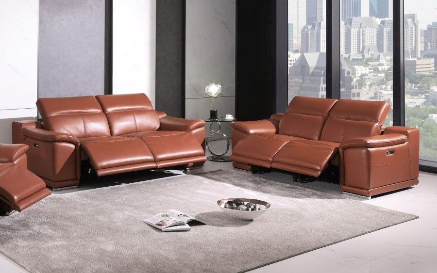 9762CM-2PC 2 pc Orren ellis florence camel italian leather power reclining sofa and love seat adjustable headrests