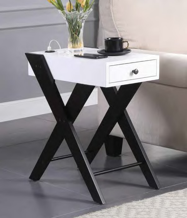 Acme 97738 Breakwater bay melchoir fierce white and black finish wood chair side end table with USB power dock station