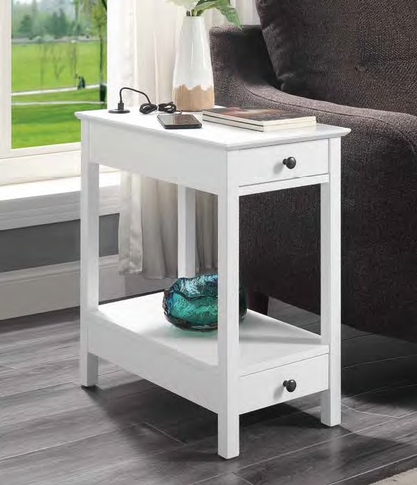 Acme 97741 Breakwater bay melchoir byzad white finish wood chair side end table with USB power dock station