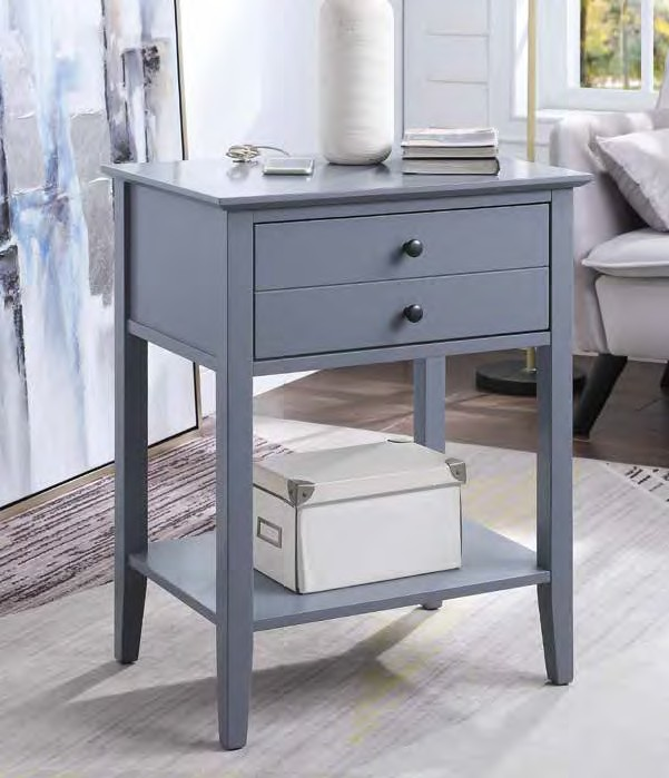 Acme 97743 Orren ellis shelbyville grardor gray finish wood nightstand end table with USB power dock station