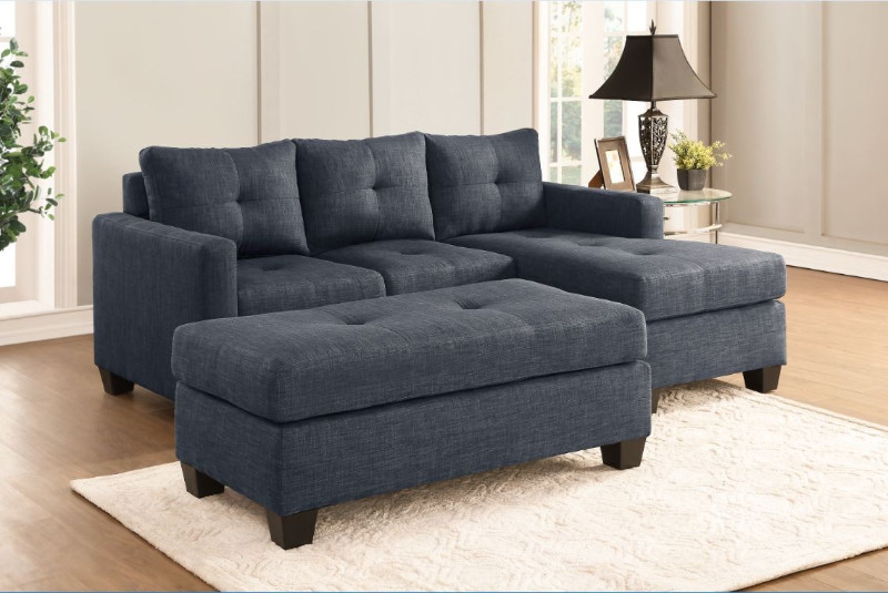 Home Elegance 9789DG-3LC 2 pc phelps dark gray textured fabric reversible sectional sofa set