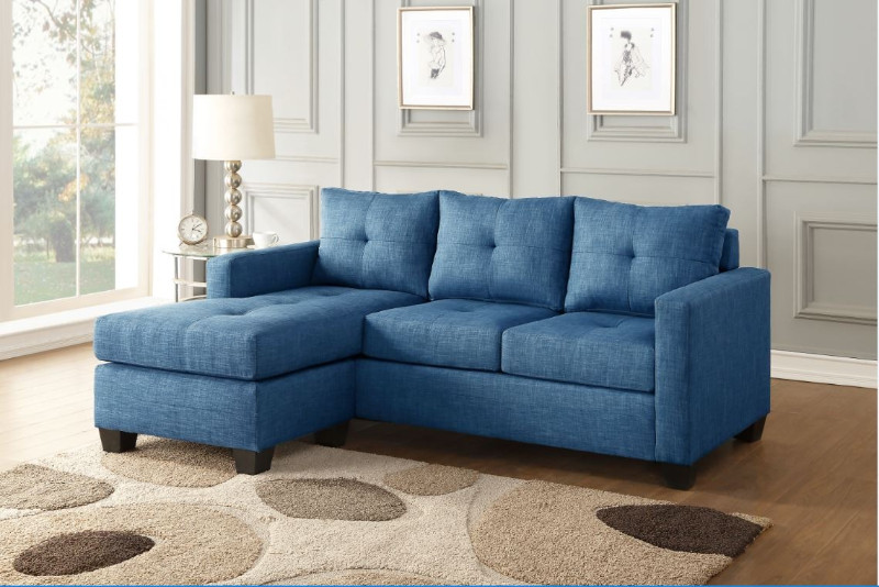 Homelegance HE-9789BU-3LC 2 pc phelps blue textured fabric reversible sectional sofa set