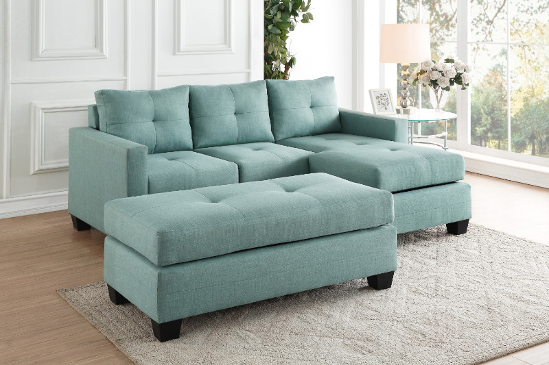 Homelegance HE-9789TL-3LC 2 pc phelps teal textured fabric reversible sectional sofa set
