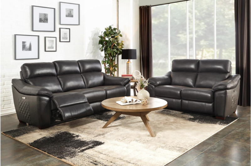 Homelegance 9805DG-2PWH 2 pc Renzo dark gray top grain leather sofa and love seat set power motion recliners