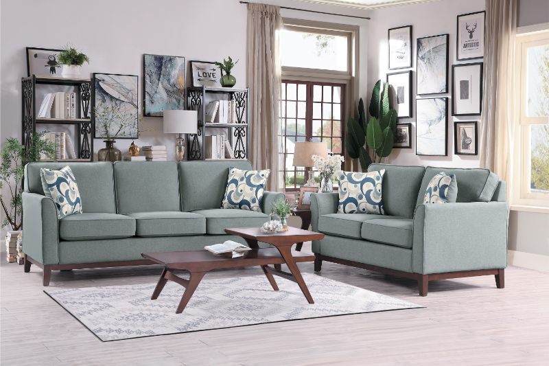 Homelegance 9806GRY-SL 2 pc Blue lake gray fabric sofa and love seat set with wood trim