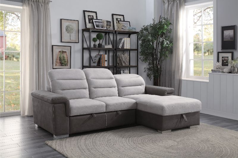 HE-9808SC-2pc 2 pc Alfio two tone fabric storage sectional with pull out bed lounger area