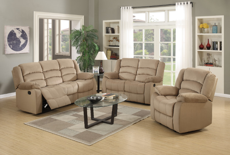 Global United 9824BEI-2PC 2 pc Norma beige bella velour fabric sofa and love seat with recliner ends