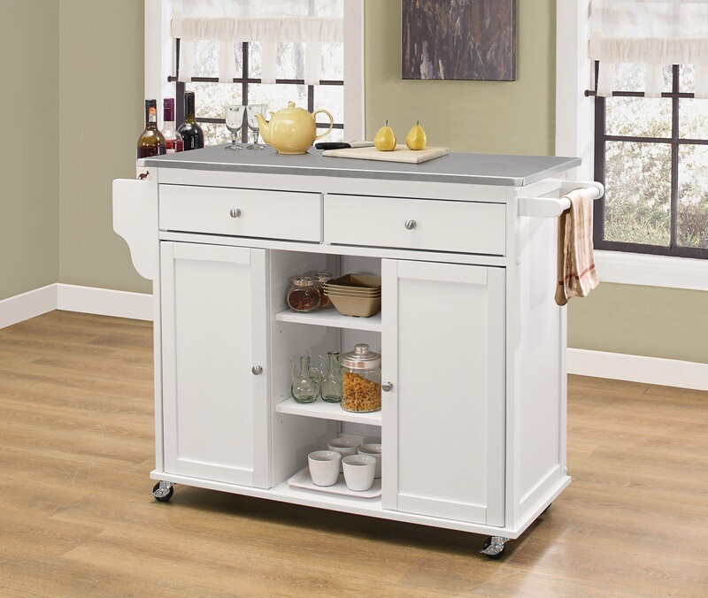 Acme 98307 Tullarick natural and stainless steel finish wood and metal accents kitchen island cart