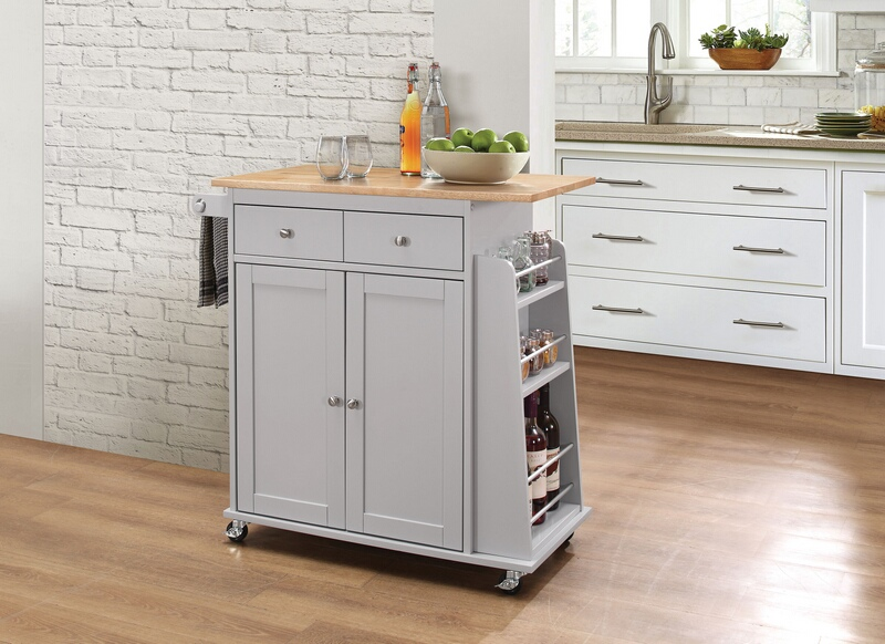 Acme 98310 Tullarick natural and gray finish wood and metal accents kitchen island cart