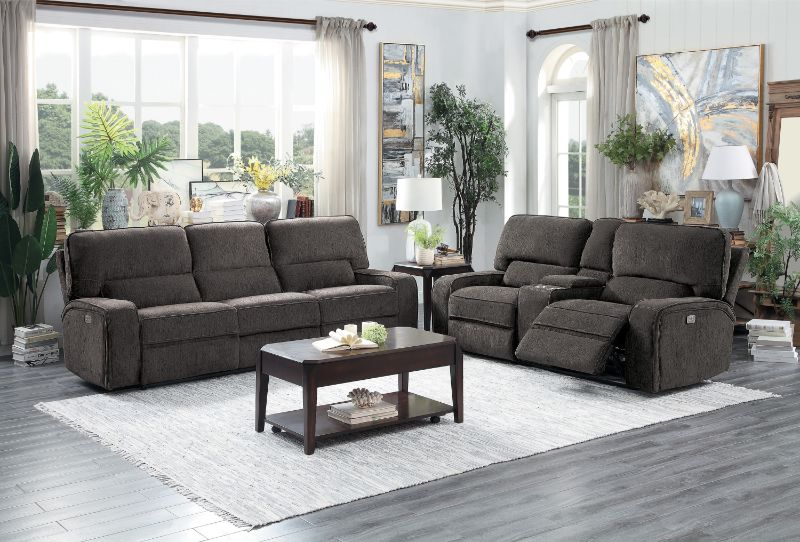 HE-9849CH-2PC 2 pc Borneo chocolate fabric motion sofa and love seat set recliner ends