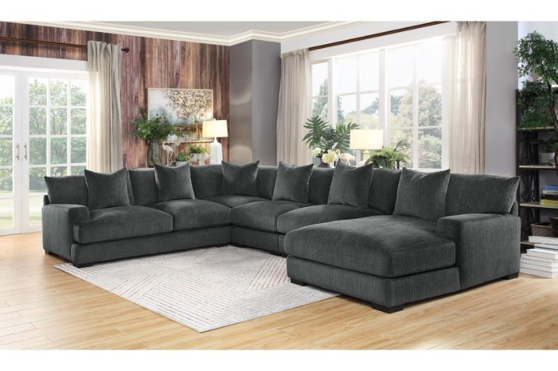 HE-9857DG-5PC 5 pc Worchester dark gray chenille fabric modular sectional sofa