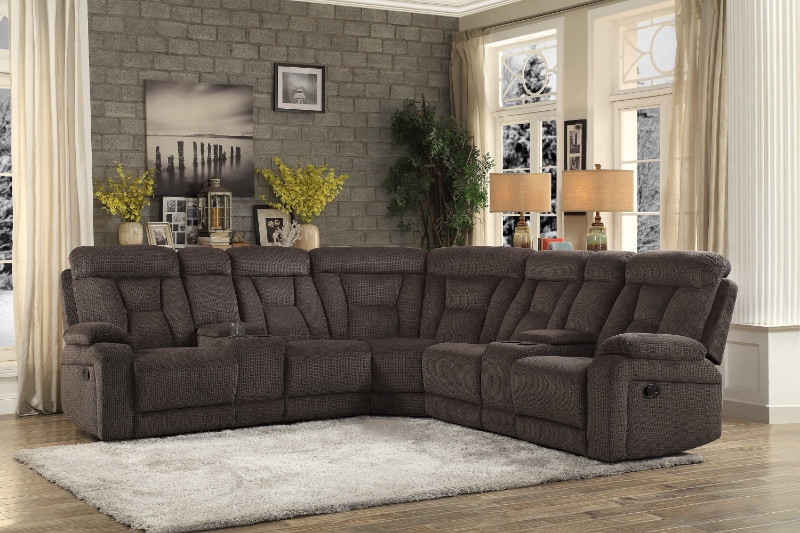 Homelegance 9914CH-3PC 3 pc Rosnay chocolate fabric sectional sofa with recliner ends and consoles