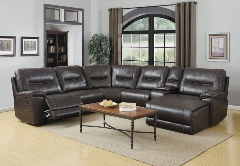 GU-9917BR-6PC-RC 6 pc Latitude run restin brown leather aire reclining sectional sofa set RAF chaise