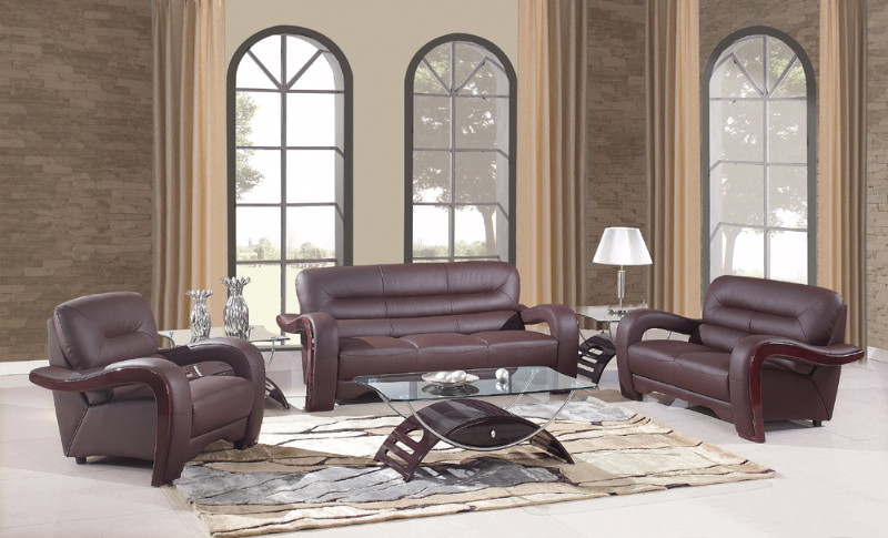 992BR-2PC 2 pc Latitude run aramis modern style brown genuine leather sofa and love seat set