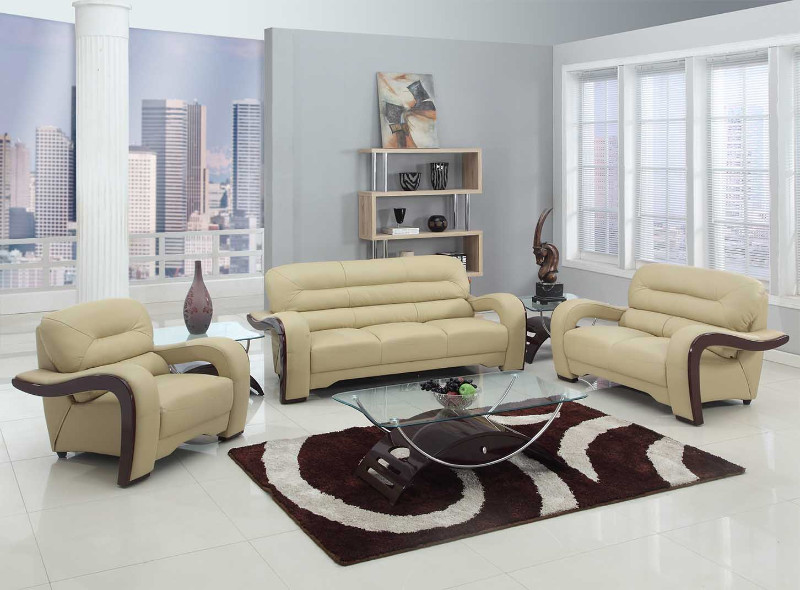992BEI-2PC 2 pc Latitude run aramis modern style beige genuine leather sofa and love seat set