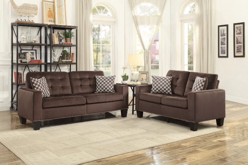 Homelegance HE-9957CH-SL 2 pc Lantana chocolate fabric sofa and love seat set nail head trim