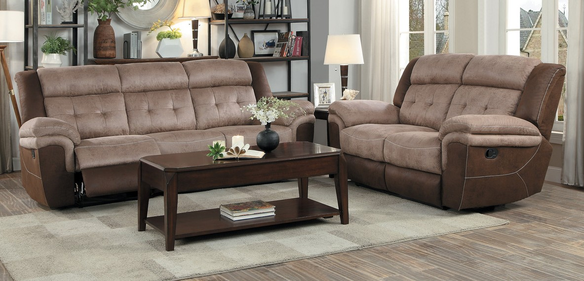 Homelegance 9980-2PC 2 pc Chai two tone brown microfiber fabric sofa and love seat set recliner ends
