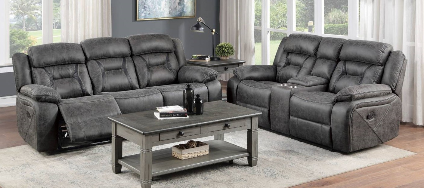 Homelegance 9989GY-2PC 2 pc Madrona hill gray polished microfiber motion sofa and love seat set