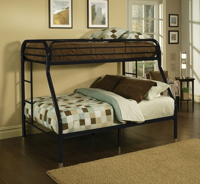 Tritan collection twin over full black finish tubular metal design bunk bed