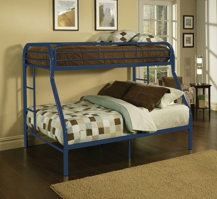 Tritan collection twin over full blue finish tubular metal design bunk bed