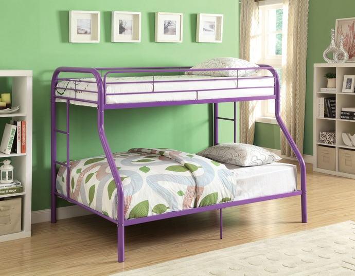 Acme 02053PU Wildon home tritan twin over full purple finish tubular metal bunk bed