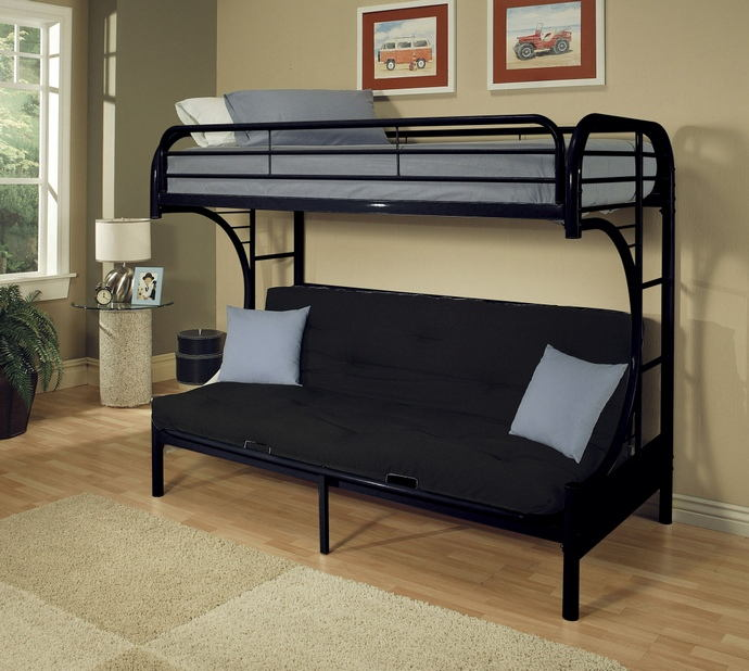"""Eclipse collection """"c"""" shaped style twin over full futon black finish tubular metal design bunk bed"""